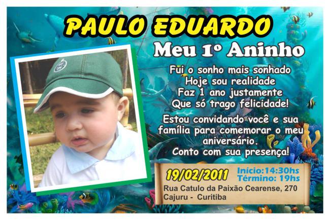 Convite Couchê 230g Paulo Eduardo